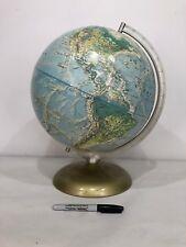RARE Vtg RAND MCNALLY World Portrait Globe Retro Deco Art Mid Modern Metal USA
