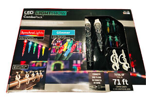 Gemmy 71 Ft LED Multi Colors 36 Icicles SynchroLights &  Gimmer lightShow