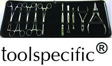 10pc Pro Body Piercing Tool Kit Zip Case Tongue Belly Septum Nose Lip Ear Clamps