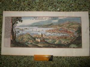 1720s,FINE PANOR.VIEW MARSEILLE[MARSILIEN/MASSILIA],PROVENCE,FRANCE,FRANCIA