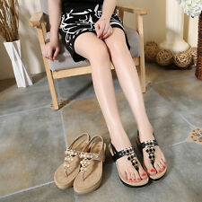 Womens Mid Wedge Heel Creeper Platform Flip Flops Thong Sandal Roma New Shoes Sz