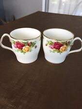 "Vintage Royal Albert Coffee Mugs x 2. ""Old Country Roses"""
