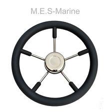 NEW MARINE BOAT STEERING WHEEL M.E.S for Cruiser, Rib, Fishing boats - Black