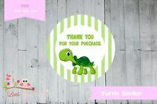 Personalised Green Turtle circle round labels stickers thank you