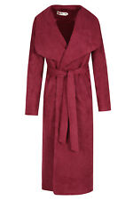 Ladies Sexy Suede Long Duster Trench Waterfall Coat Womans Designer Jacket Sizes