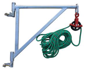 Gerüstarm + Umlenkrolle 150mm + 25m Seil Gerüstaufzug Seilzug Flaschenzug Gerüst
