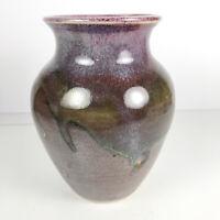 Purple Mid Century Vintage California Studio Ceramic Pottery Vase Vessel Signed