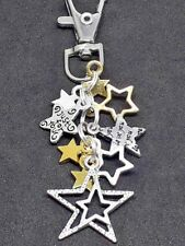 CLIP ON BAG CHARM Tibetan Silver STARS Love You JUST FOR YOU Multi Coloured