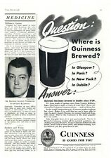 """1938 Guinness Beer Ad: """"Where is Guinness Brewed?"""" Dublin, Since 1759!"""