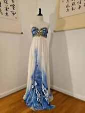 Terani Couture Iris White & Blue Pageant Evening Gown Dress Empire Prom Size 2-4