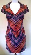 Ted baker navy chintz tartan shirt dress buttons UK 12 Size 3 NEW RRP£99