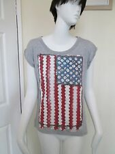 ATMOSPHERE - GREY FLORAL STRIPED USA FLAG C-NECK  T-SHIRT  Size 1 - COTTON BLEND