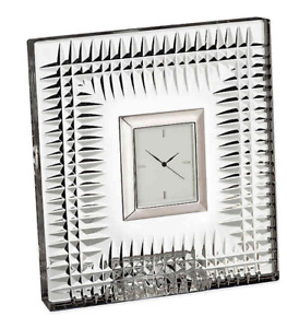 """NEW Waterford LISMORE DIAMOND 4.5"""" CRYSTAL CLOCK Mantle Bedside Office 40000186"""