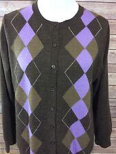 CROFT & BARROW Browns Purple Argyle Button Front Cardigan Sweater Sz L