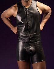 Sexy Leather Look Sleeveless Vest T-shirt and Lettre Popper Front GAY