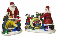 Large Light Up Animated Musical Christmas Resin Santa Figure Decoration Set