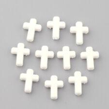 1230pcs/500g Acrylic White Cross Beads Opaque Bulk Jewelry Beading Craft 16x12mm