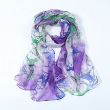 Long Silk Chiffon Scarf Purple Theme Abstract Print SCH069