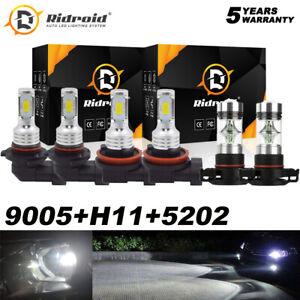 For GMC Sierra 1500 2007-2013 2500 3500 LED Headlight Combo Hi Low + Fog Light