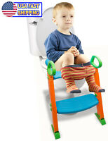 Potty Trainer Toilet Chair Seat Kids Toddler Non Slip Step Stool Ladder w Handle
