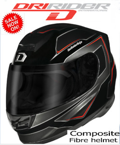 DRIRIDER Motorcycle Helmet NEW! D-SPORT Gloss Black Red Motorbike Road rrp $279!