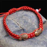 2X Feng Shui Red String Lucky Wooden Twin Fish Charm Bracelet Good Luck Wealth
