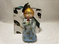 """Vintage Christborn Decorated Blown Glass Germany Angel With Rose Ornament 4"""""""