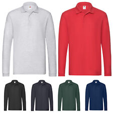 FRUIT OF THE LOOM MENS PREMIUM LONG SLEEVE COTTON PIQUE POLO SHIRT SS24