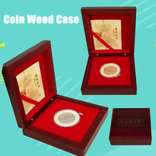 Single Coin Wood Case Display Box Wooden Storage Holder Collection Round Capsule