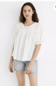 Madewell Embroidered Smocked Top SZ XL $108 NWT