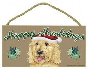 """Happy Howlidays Labradoodle Blonde Christmas CUTE Holiday Dog Sign 5""""x10"""" 326"""
