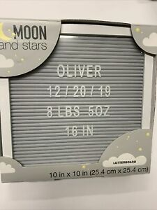 "10""x10"" Gray Letter Board Set and Changeable Letters White Frame Moon And Stars"