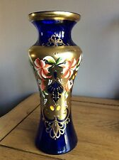 Murano bohemian ? Colbolt Blue gold glass vase 10.5 inches