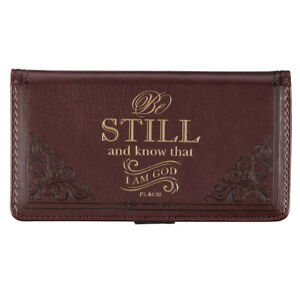 Checkbook Cover, Be Still and Know Brown Faux Leather, Psalms 46:10