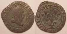 Henri III, Double tournois 1589 B Rouen !!