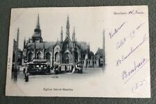 CPA. ROUBAIX. 59 - Eglise Saint Martin. 1902. Tramways avec rideaux.