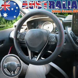 """15"""" Black PU Leather Steering Wheel Cover Breathable Fabric Braid Car Interiors"""