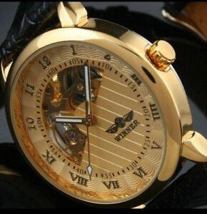 WINNER forsining watch mechanical luxury  sports gold stainless steel date uk
