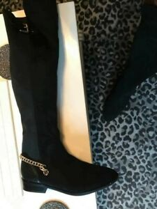 Size 7 RIVER ISLAND /BLACK SUEDE WIDE CALVE STRETCH /OVER KNEE BOOTS WORN ONCE