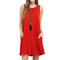 USA Women Casual Scoop Neck Sleeveless Trapeze Tank Dress Long Tunic Top Plus