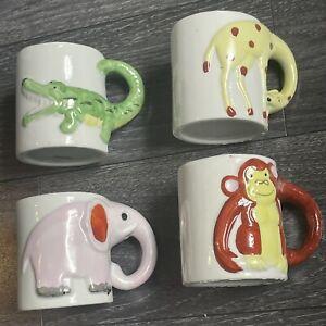 Rare Vintage 1980's Mugs O' Fun Vintage Ceramic Animal Mug Set For Kids