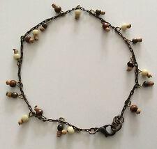 Bronze Mixed Shaped Beaded Charm Bracelet.  24cm Long