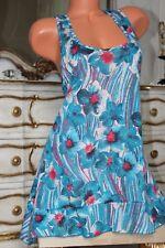 (Ref 21)  PER UNA  Blue Mix Elasticated  Ladies Top Vest Croshet Back  size 14