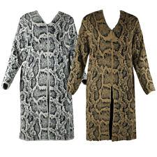 Very Moda para mujer Mangas largas Cardigan de punto pestañas con estampado de serpiente bolsillos