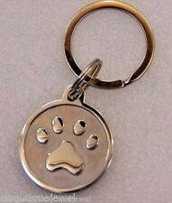 Dog Paw Print Keychain Ring Stainless Steel Silver Pet Footprints Key Chain Gift