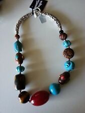 NEW Turquoise Magnasite, wood coral, ,amber, Necklace