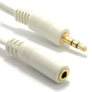 GOLD 3.5mm Stereo Mini Headphone Jack EXTENSION Cable Audio White Lead Lot