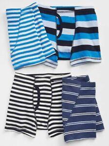 New Gap Kids Boys 4 Pack Boxer Briefs Underwear 7 8 10 12 14 Years Blue Stripes