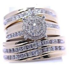 Men And Ladies Lab Diamond & Yellow Gold Finish Trio Set Wedding/Engagement Ring