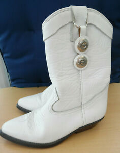 Wrangler white leather western cowboy style boots size 5 -  with silver tags